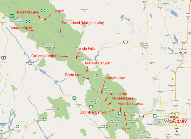 Map of Banff and Jasper National Park shoing photo locations by Robert Berdan