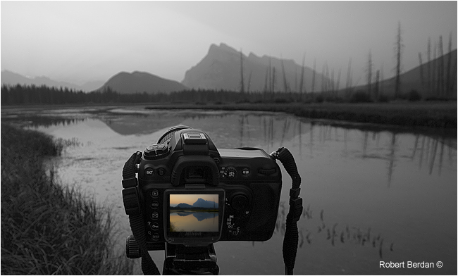 Camera set up to photograph the sunrise in Banff National park by Robert Berdan ©