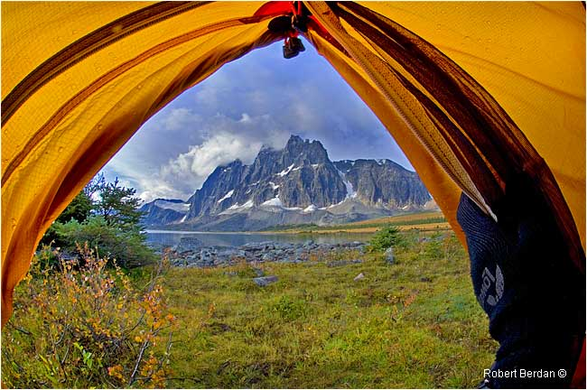 View of the Ramparts from inside a tent by Robert Berdan ©