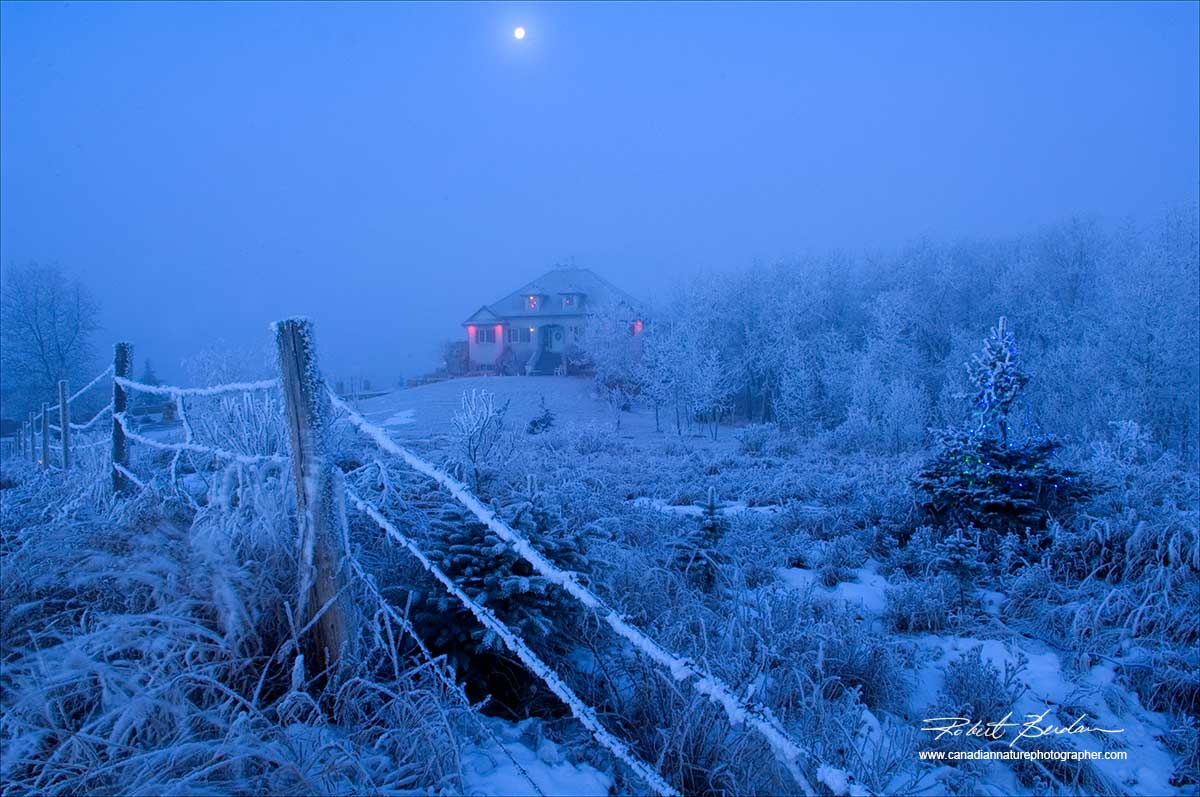 Home in the Bears Paw Area North of Calgary early morning with full moom and Hoar frost  by Robert Berdan ©