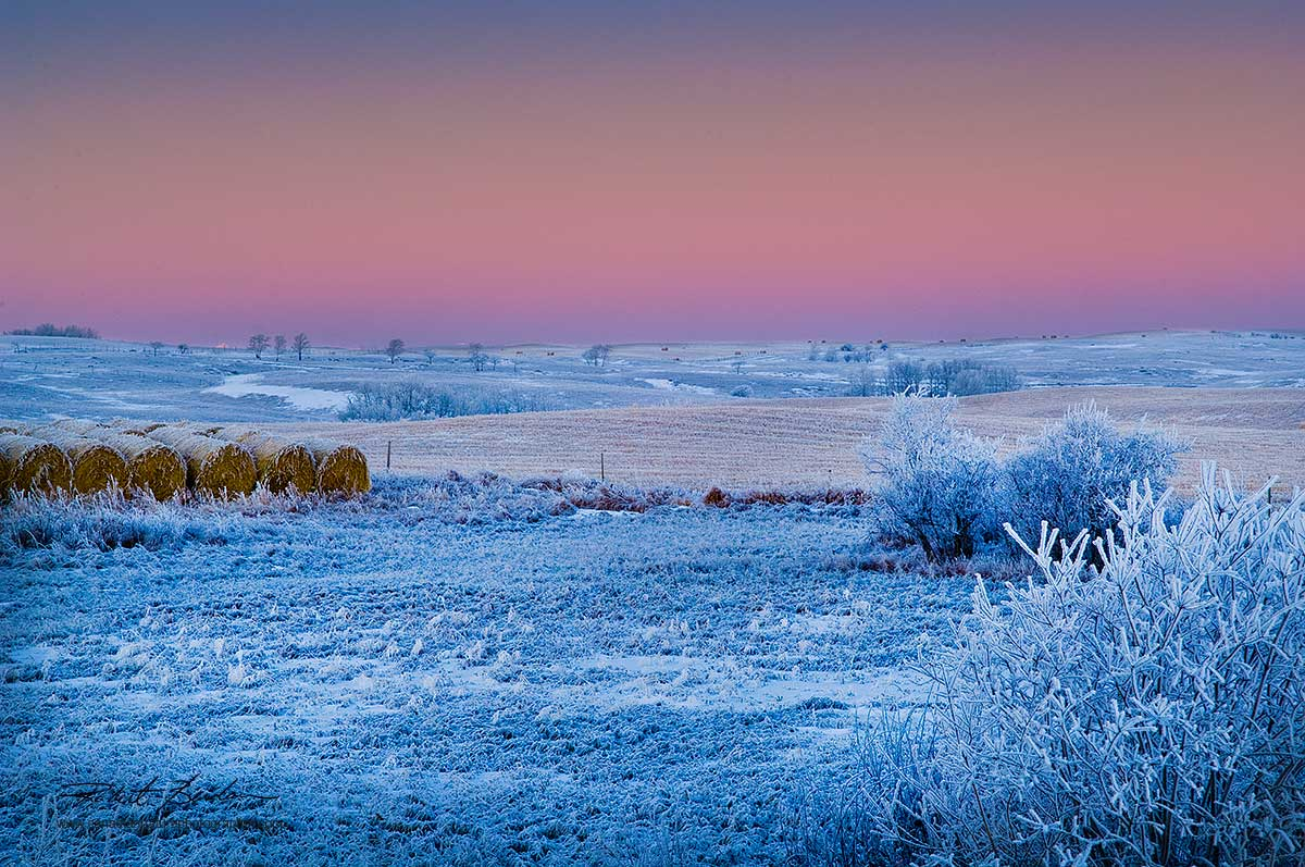 Lochend Road north of Calgary on cold winter morning by  Robert Berdan ©