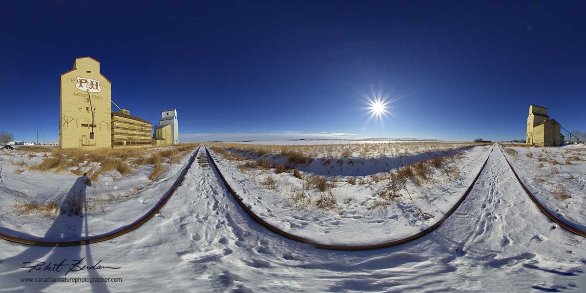 Panorama of grain elevators at Mossleight, Alberta by Robert Berdan ©