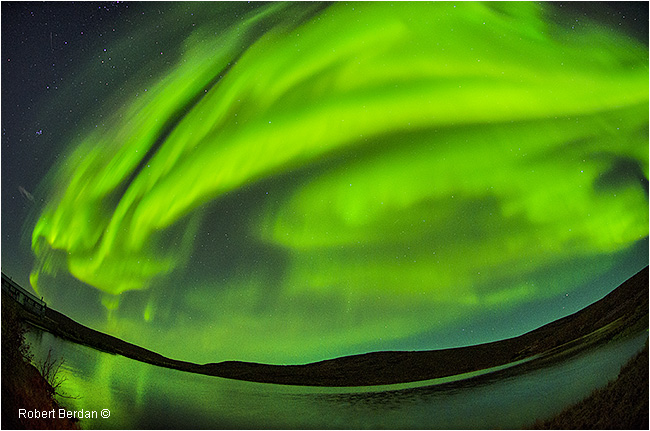 Aurora over pond, Point lake, NWT by Robert Berdan ©