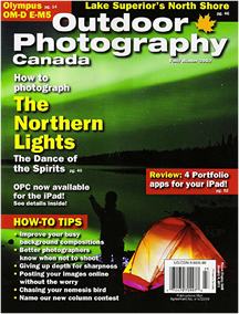 Outdoor photography Canada cover issue Fall\Winter 2012