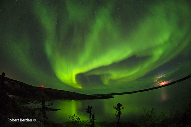 Aurora over Prelude lake from lookout trail - lightening in the distance by Robert Berdan ©