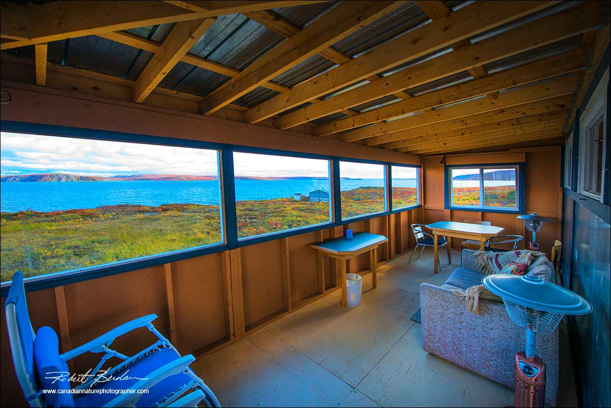 Petersons Point Lake lodge porch in front of cabin by Robert Berdan ©