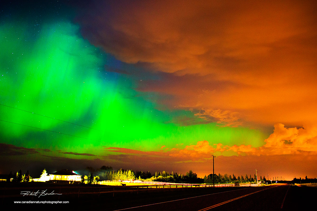 Aurora borealis after a thunderstorm photographed north of Calgary in the Bearspaw area by Robert Berdan