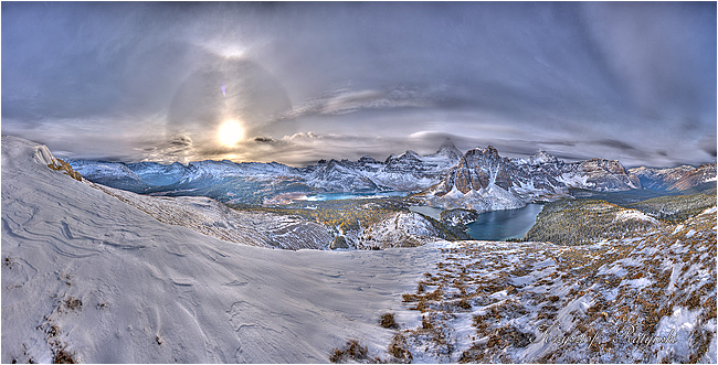 View from the top of Nublet overviewing Mt Assiniboine by Chris Ratynski ©