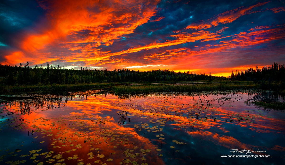 Sunset on pond along the Ingraham trail outside of Yellowknife,NT by Robert Berdan ©