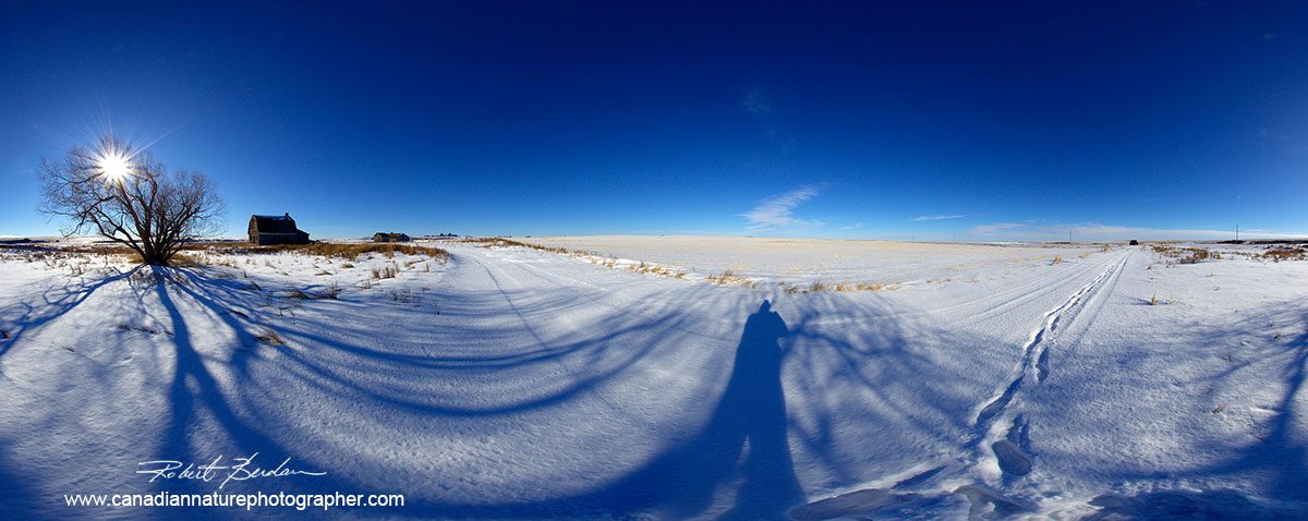 Prairie scene taken by stitching 4 images taken with an 8 mm fisheye lens by Robert Berdan ©