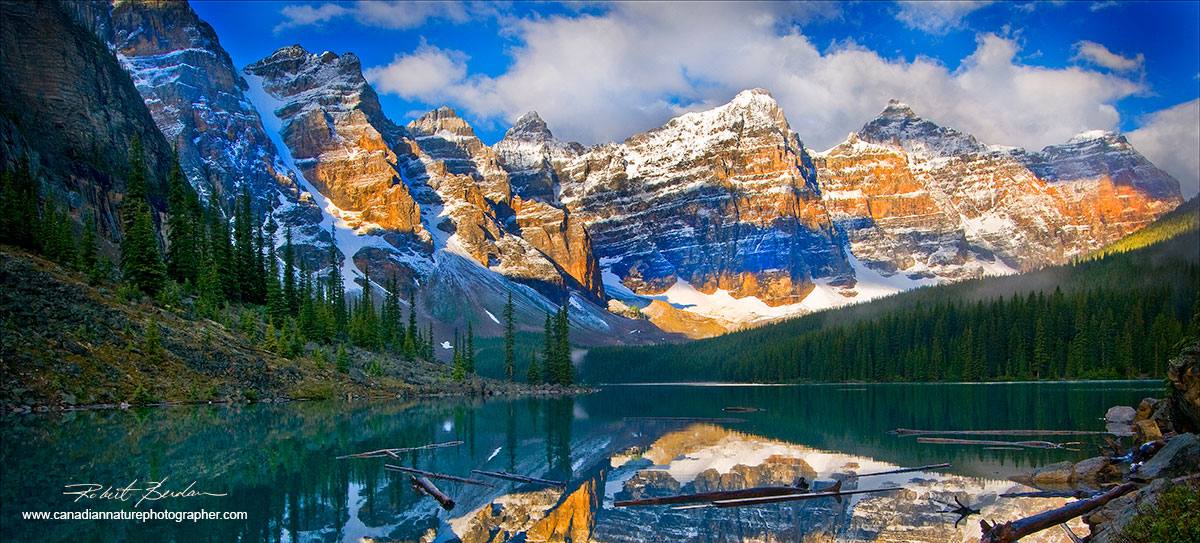 Moraine Lake, Banff National Park, Alberta - panoramic photo by Robert Berdan ©