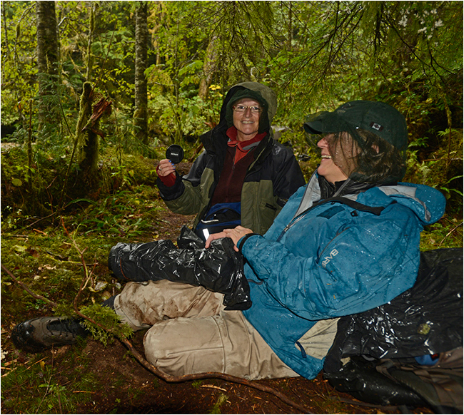 Debra Garside and Sydney in Great bear rainforest