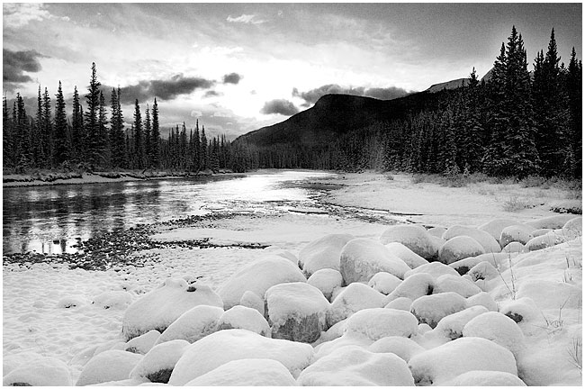 Bow River - black and white photo taken with 2 F-stop grad filter by Robert Berdan ©