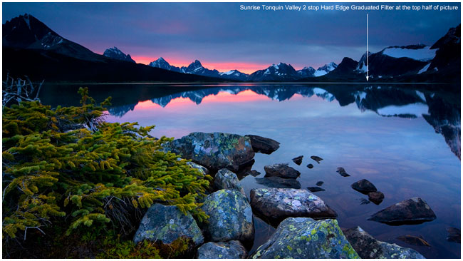 Tonquin Valley sunrise photographed with a 2 F-stop neutral density grad filter by Robert Berdan ©