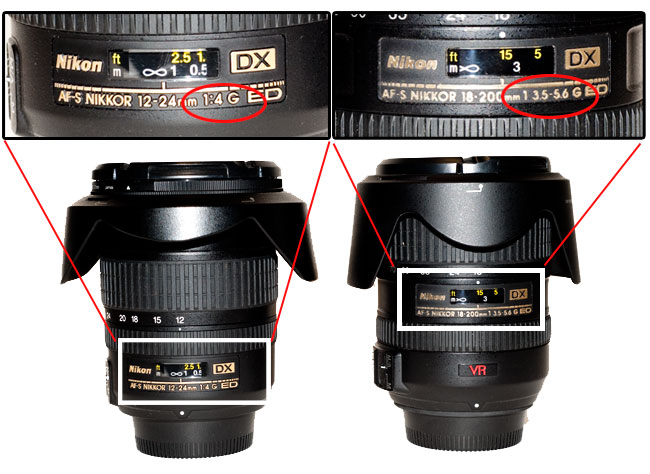 Zoom lenses and the lens markings showing max F-stop and variable F-stop found on some zoom lenses by Robert Berdan ©
