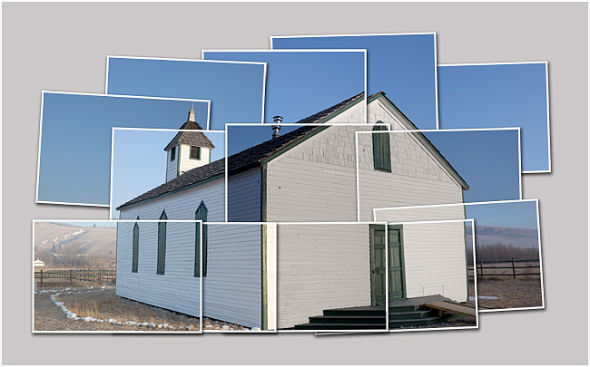 McDougall church near Morely, AB Hockney style  by Robert Berdan