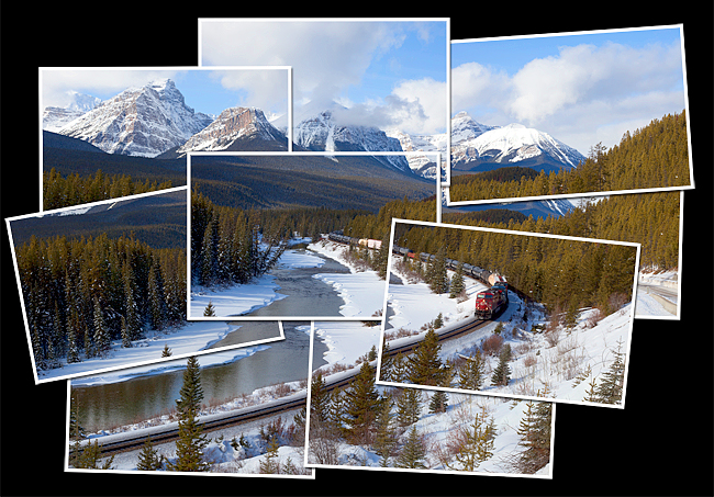 Hockney style photograph of Morants Curve in Banff National Park, AB by Robert Berdan ©
