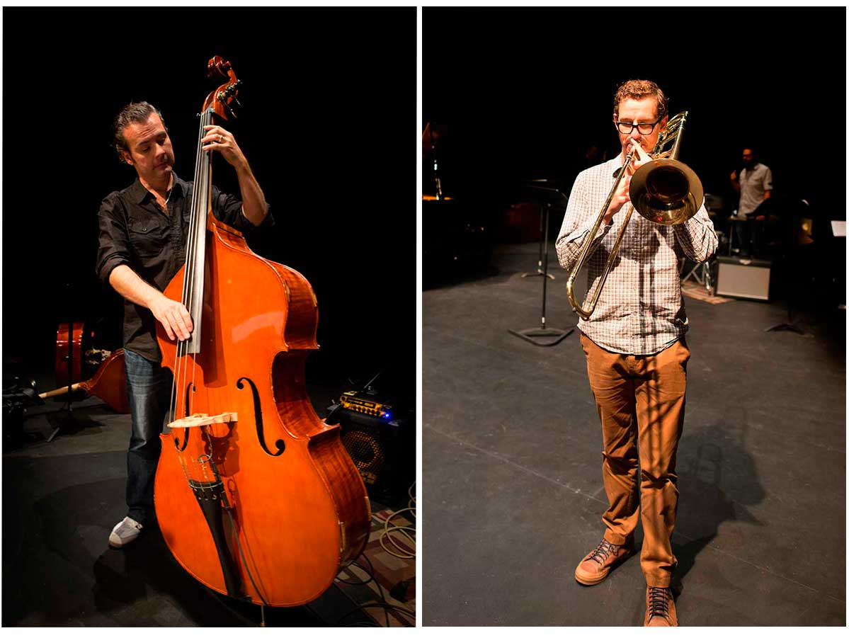 Left: Rubim de Toledo (Bass)  and right Carsten Rubeling (Trombone) by Robert Berdan