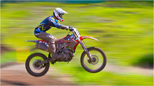 Moto-X bike racer with panned background by Robert Berdan ©