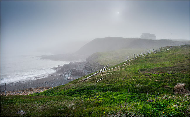 Sea shore in fog at St. Brides