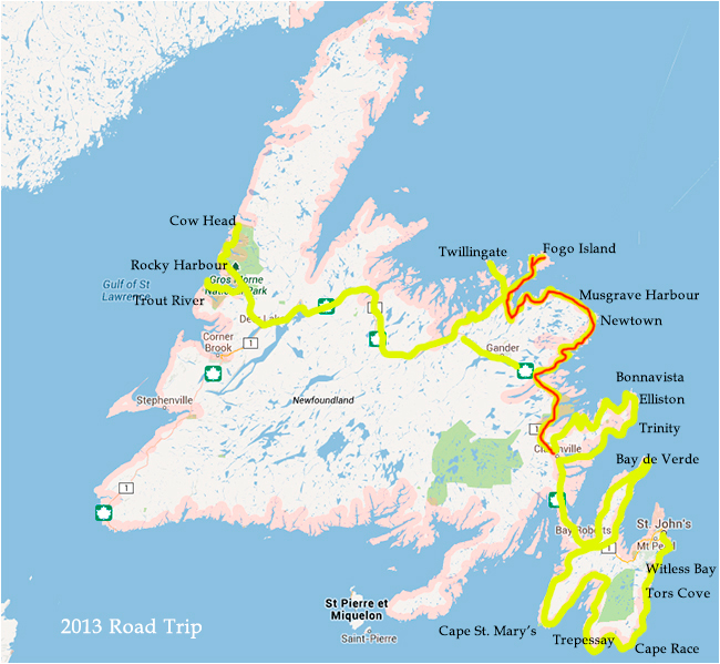 Map of Newfoundland Photo Trip Part 2