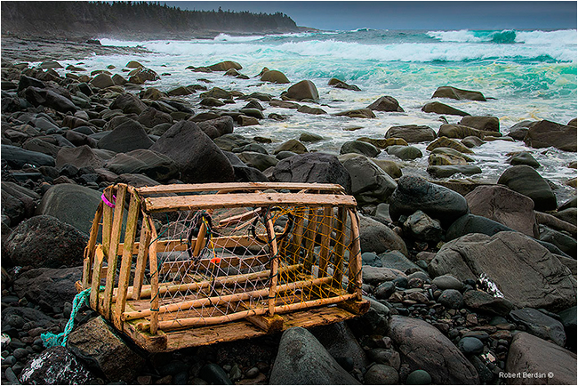 Lobster trap washed up on shore Newfoundland by Robert Berdan ©