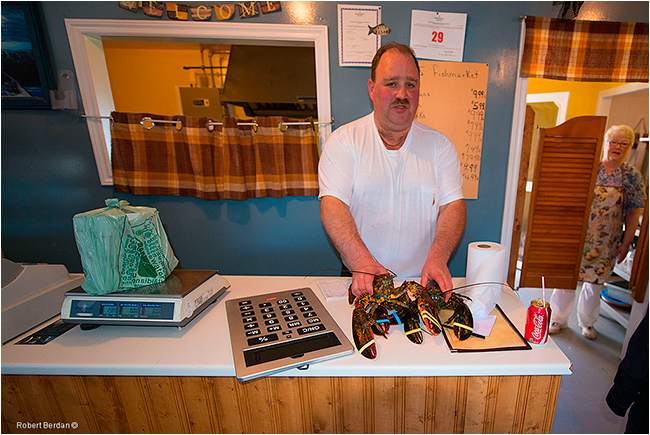 Fish and chips and lobster served in Twillingate restaurant by Robert Berdan ©