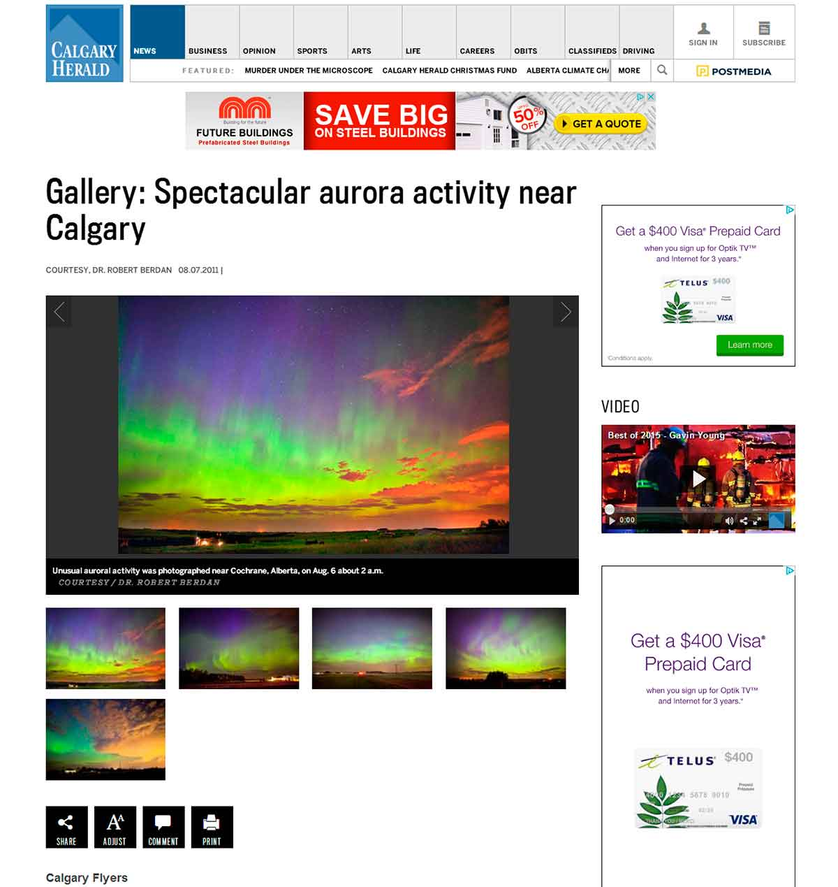aurora borealis near Calgary photos by Robert Berdan