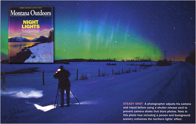 Aurora photography in Montana Magazine by Robert Berdan
