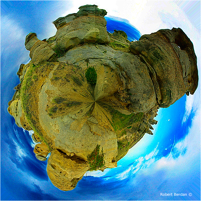Planetary panorama of Writing-on-Stone provincial park, AB by Robert Berdan ©