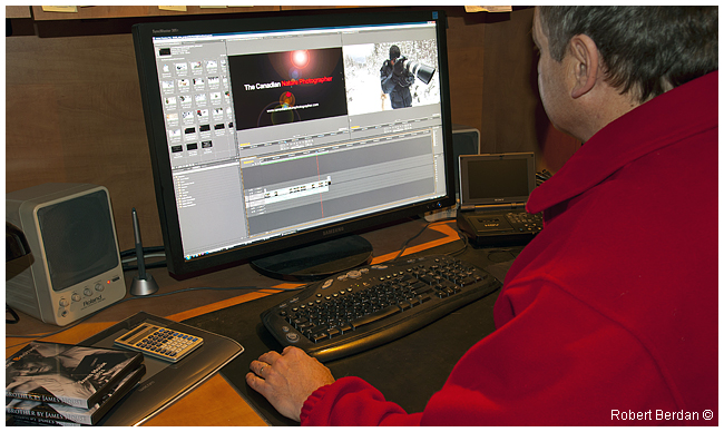 Robert Berdan in front of his computer editing video using Adobe Premiere Pro software by R. Berdan ©