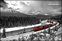 Morant's curve Banff National Park Black and white with color image by Robert Berdan