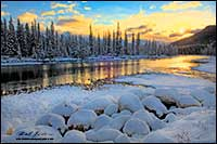 Bow river in winter near Castle Junction HDR photo by Robert Berdan