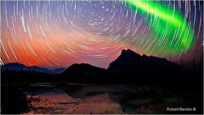 Star trails and aurora over Mt. Rundle Banff National Park by Robert Berdan ©