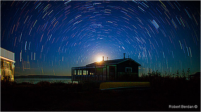 Moonrise, star trails over Point Lake NWT by Robert Berdan ©