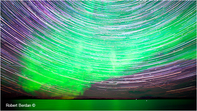 Star trails over Prelude Lake, NWT by Robert Berdan ©