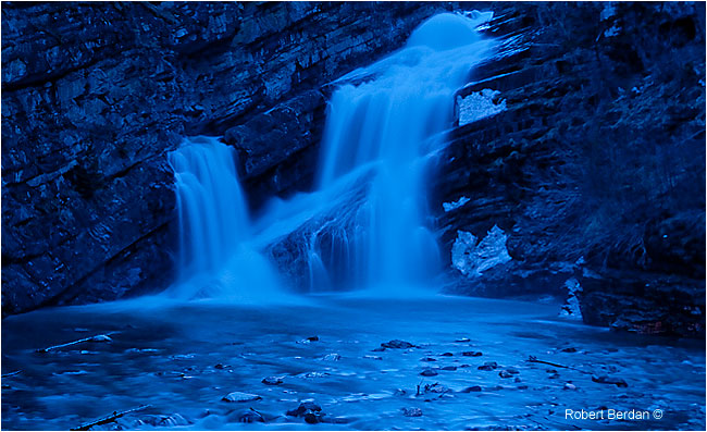 Cameron falls photographed at night - long exposure by Robert Berdan ©