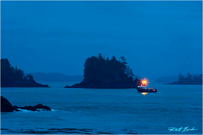 Fishing boat returns to Ucluelet harbour by Robert Berdan ©