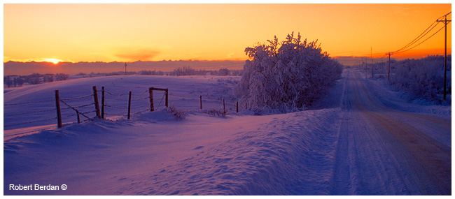 Sunset country road in winter by Robert Berdan ©